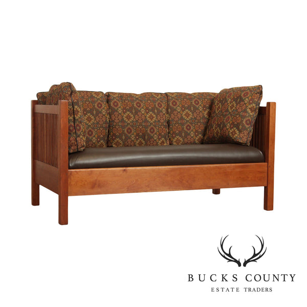 Stickley Mission Collection Vintage Cherry Spindle Loveseat