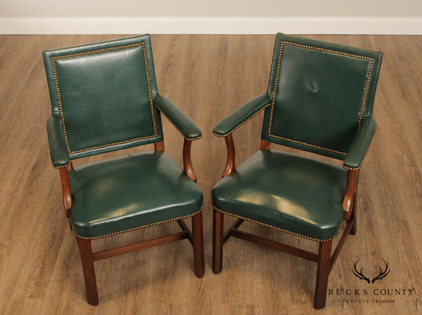 Kittinger Chippendale Style Mahogany Green Leather Pair Armchairs