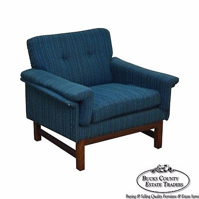 Danish Modern Mid Century Teak Frame Blue Upholstered Lounge Chair