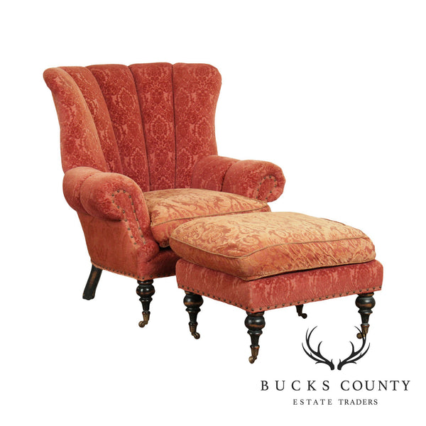 EJ Victor Carol Hicks Bolton Channel Back Wing Chair with Ottoman