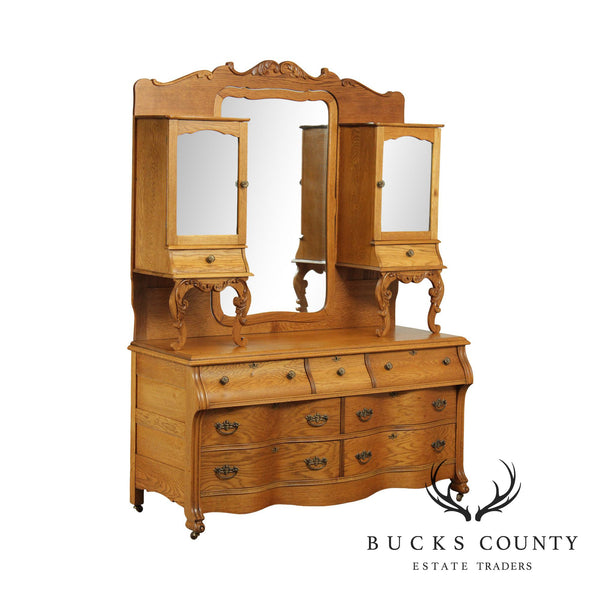 Antique Victorian Oak Unusual Double Dresser, Mirror Back