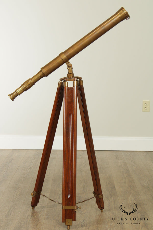 Vintage Mahogany And Brass Floor Tripod Telescope - A