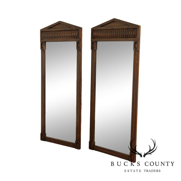 Davis Cabinet Co. Vintage Cherry Pediment Top Pair Wall Mirrors