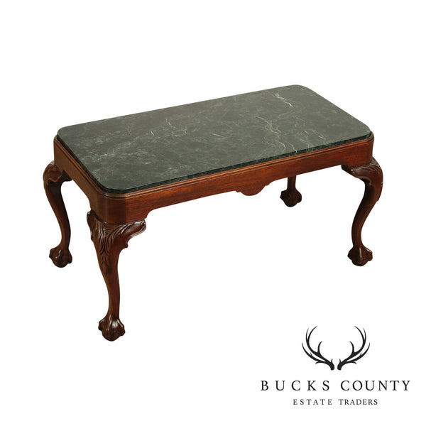 Chippendale Style Custom Mahogany Ball and Claw Green Marble Top Coffee Table