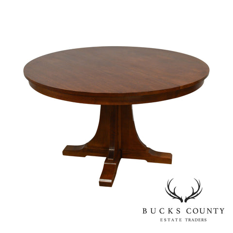 "Stickley Mission Collection 52"" Round Oak Dining Table W/ 2 Leaves"