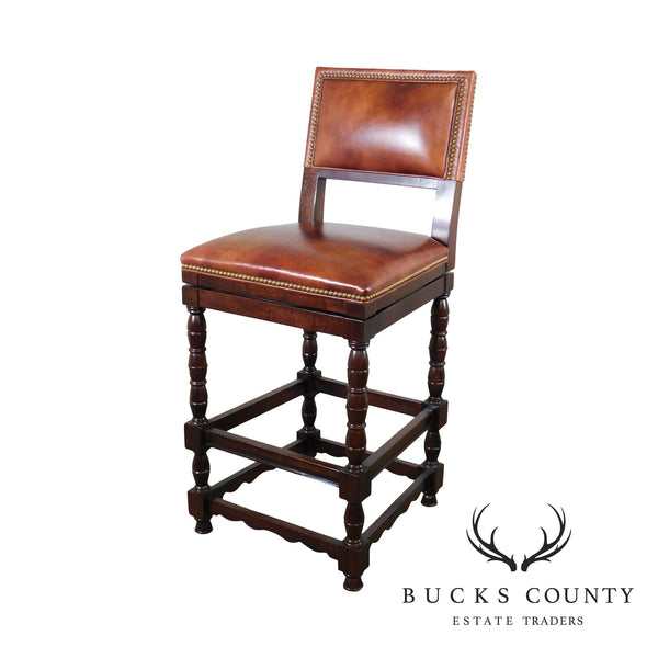 Hancock and Moore Swivel Leather Seat Bar Stool