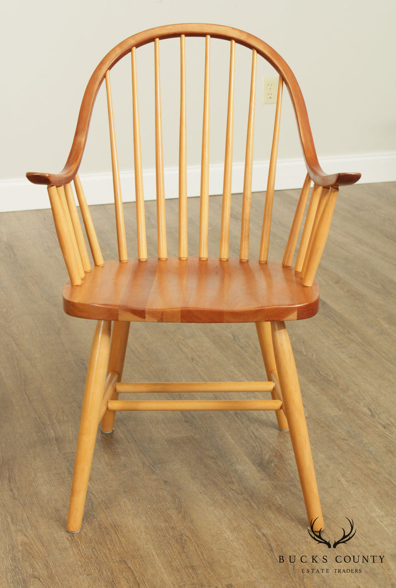Custom Crafted Set 4 Cherry Continuous Arm Windsor Dining Chairs