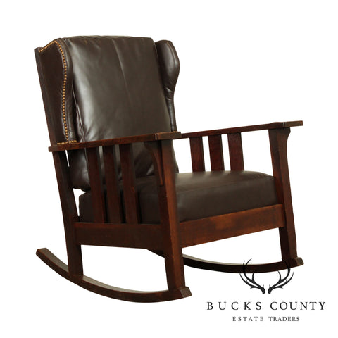 Charles Stickley Antique Mission Oak Brown Leather Rocker
