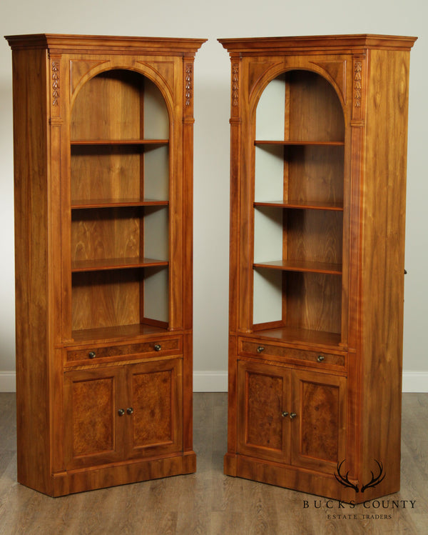 Widdicomb French Country Open Arch Pair Walnut Bookcases