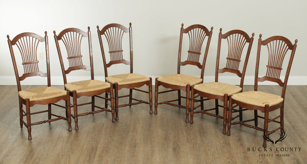 French Country Style Quality Set 6 Wheat Back Rush Seat Dining Chairs