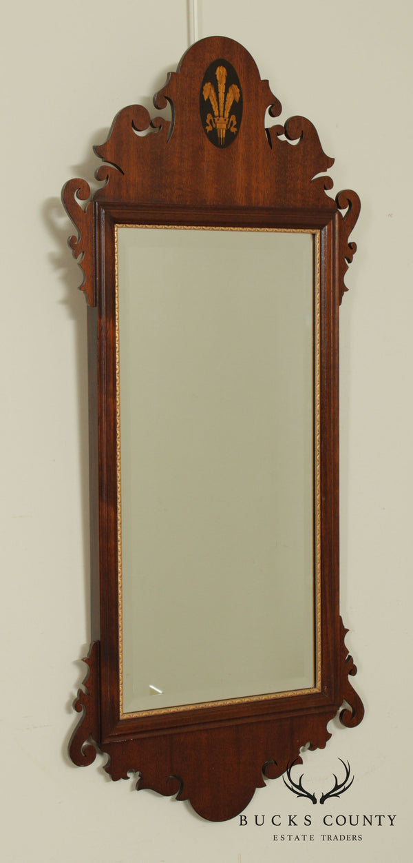 Chippendale Style Mahogany Frame Beveled Mirror With Inlay