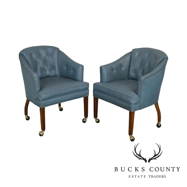 Blue Tufted Vinyl Vintage Pair Barrel Back Club Chairs