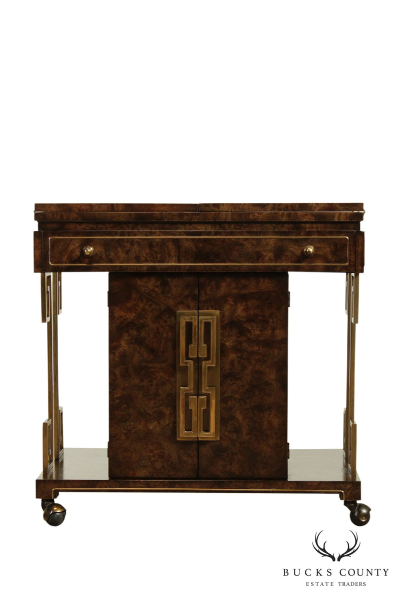 Mastercraft Mid Century Asian Inspired Burl Wood & Brass Server Bar Cart