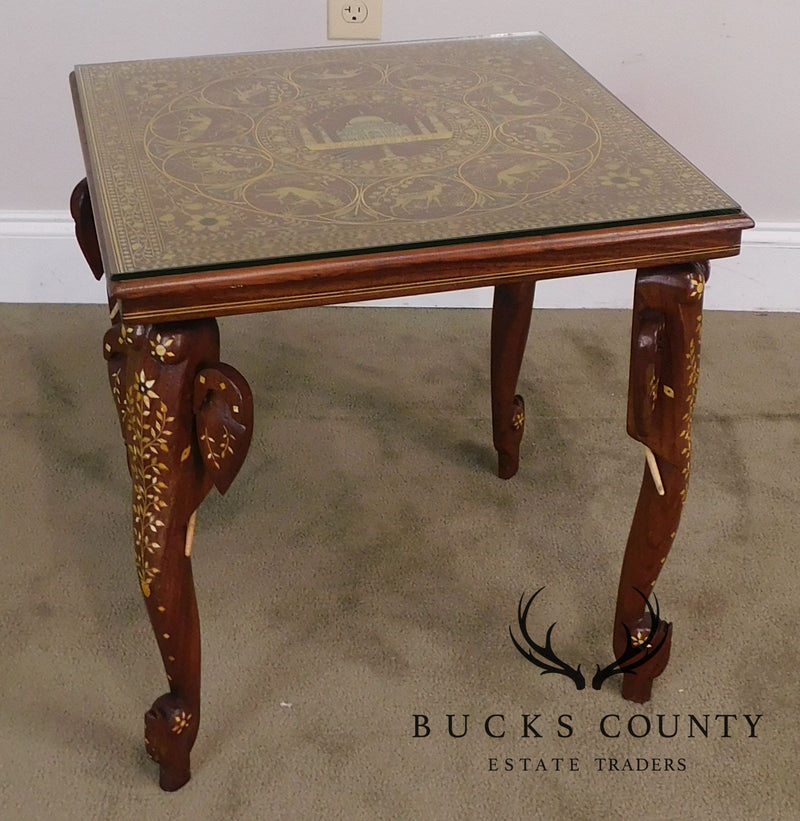 Indian Rosewood Marquetry Inlaid Square Table with Elephant Legs