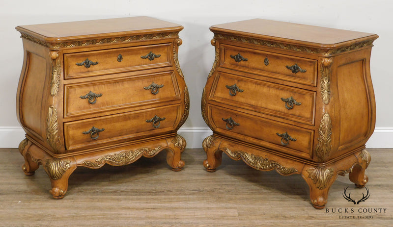 Rococo Style Pair Bombe 3 Drawer Chest Nightstands