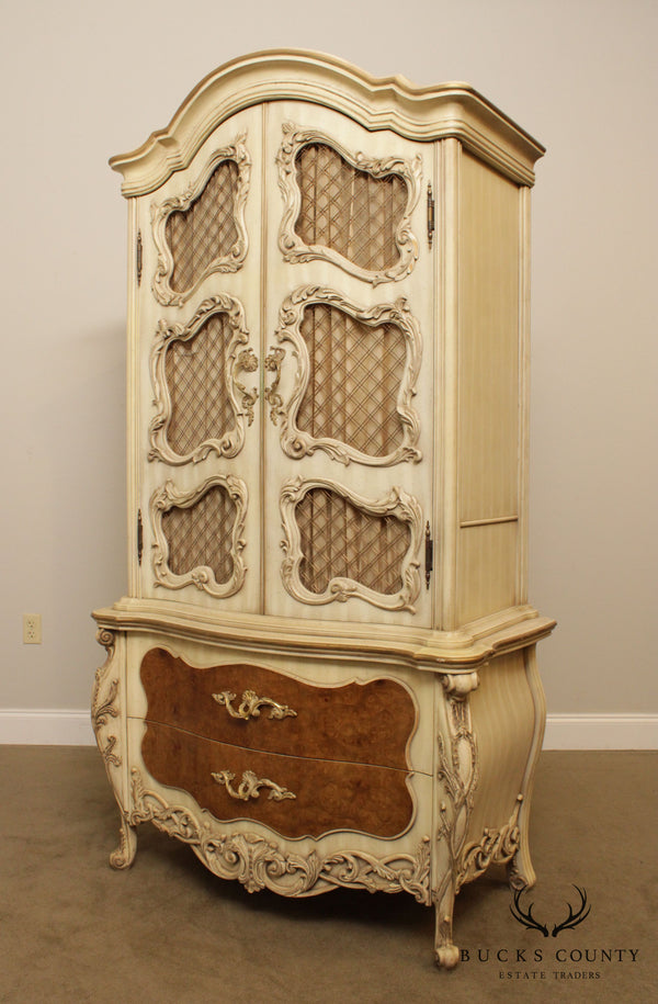 French Louis XV Style Rococo Carved Painted Armoire Cabinet