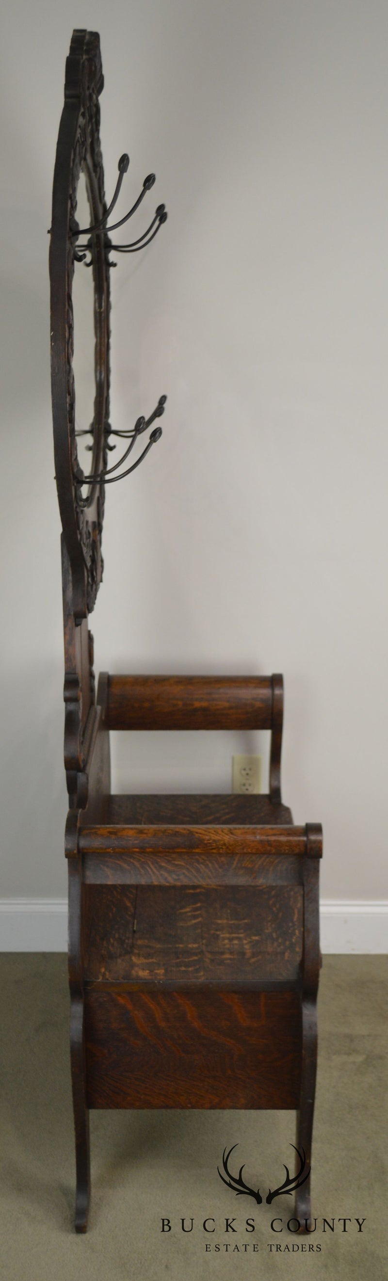 Antique Victorian Oak Hall Tree Mirror Back Bench