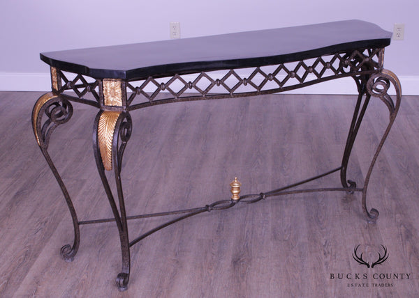 Maitland Smith Quality Tessellated Marble Top Wrought Iron Console Table