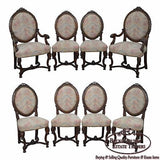 Antique French Louis XV Style Set of 8 Carved Walnut Dining Chairs