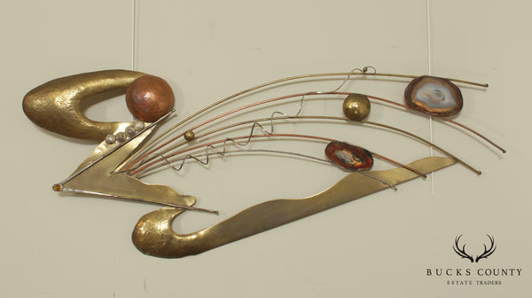 Russell Ferrell Artist Signed Mixed Metals Wall Sculpture with Sliced Geodes