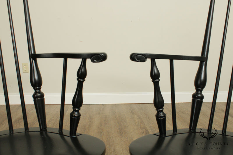 John Martin Custom Crafted Pair Black Painted Fan Back Windsor Armchairs