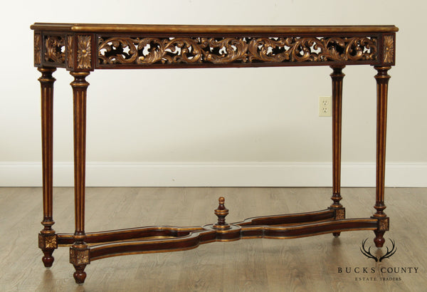 Maitland Smith Louis XVI Style Mahogany Partial Gilt Wood Console Table