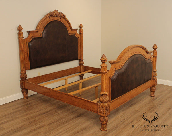 Drexel Heritage Villa Santina Baroque Style King Size Bed, Brown Leather