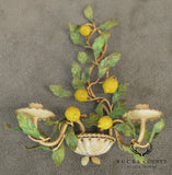 1950's Vintage Italian Tole Ware Lemon Tree Candle Wall Sconces