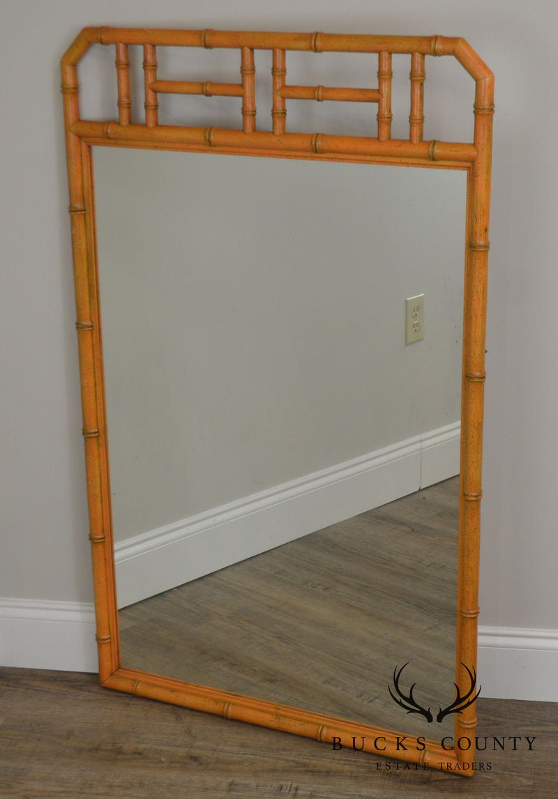 Henredon Vintage Faux Bamboo Painted Wall Mirror