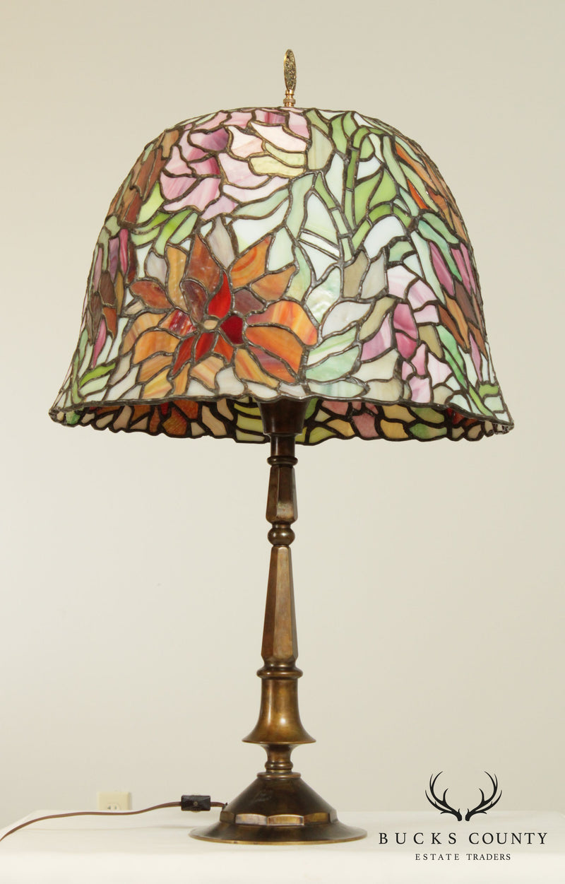Tiffany Style Bronze Base Antique Stained, Leaded Glass Table Lamp