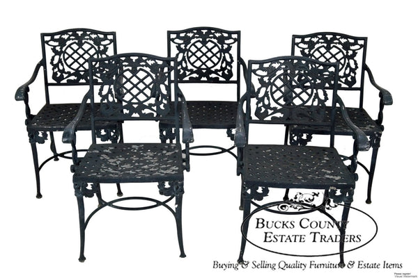 Quality Set of 5 Cast Aluminum Rococo Style Patio Dining Arm Chairs