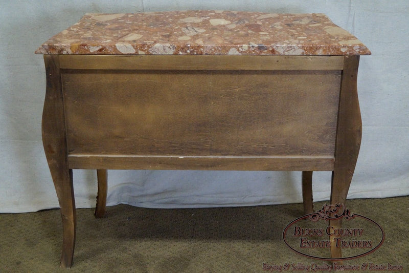 French Louis XV Style Bombe Marble Top Chest Commode