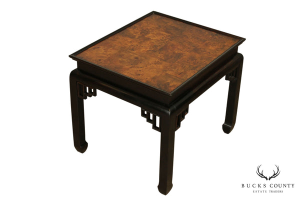 Ethan Allen Asian Style Burl Wood Side Table