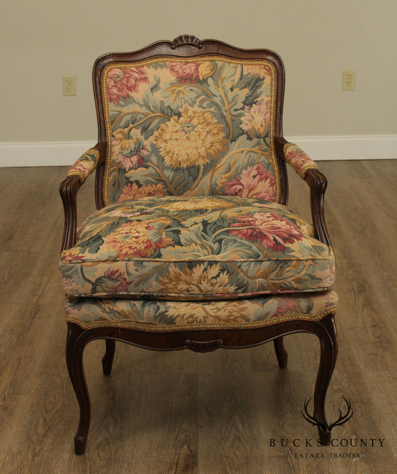 French Louis XV Style Quality Vintage Pair Fauteuils Chairs