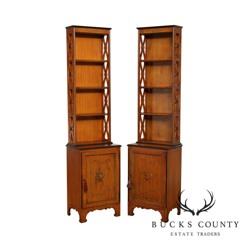 Vintage 1930's Adams Style Paint Decorated Satin Wood Narrow Bookcases