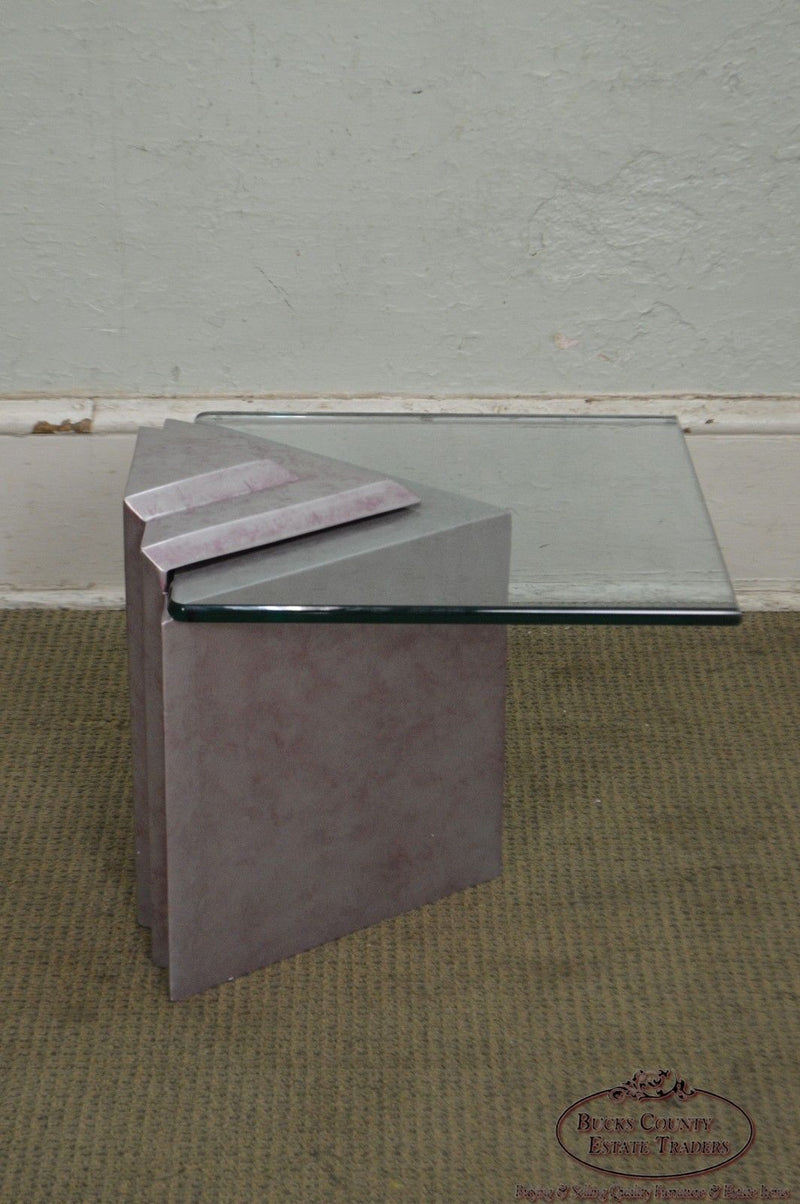Contemporary Cantilever Glass Top Triangle Base Side Table