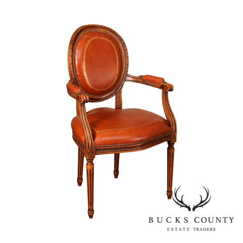 Chateau D'ax French Louis XVI Style Leather Armchair (B)