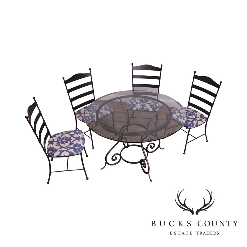 "Charleston Forge 48"" Round Glass Top Dining Table + 4 Chairs, Dining Set"