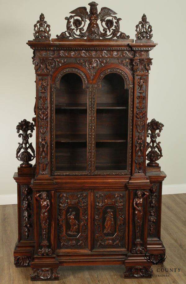 Italian Renaissance Revival 19th Century Elaborately Carved Cabinet