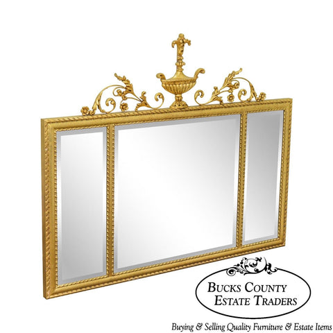 La Barge Neo-Classical Style Gilt 3 Section Beveled Mirror with Urn