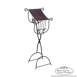 High Quality Hand Wrought Iron & Leather Lyre Music Stand