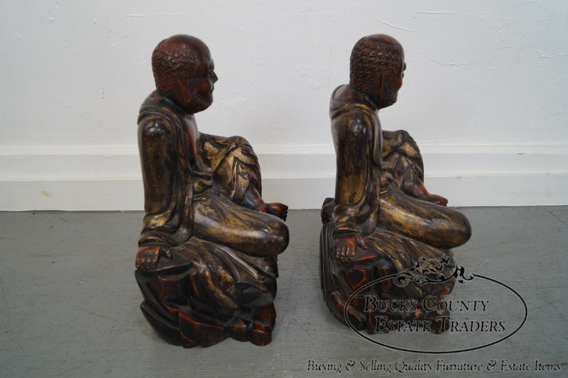 Vintage Hand Carved Wood Pair of Buddha Statues