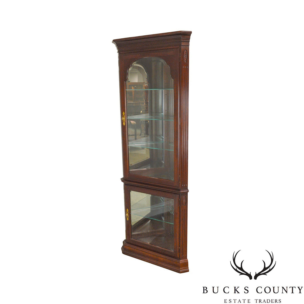 Ethan Allen Georgian Court Corner Curio Display Cabinet
