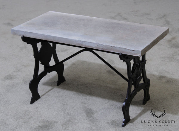 Antique Cast Iron Small Slate Top Garden Table with Eagles