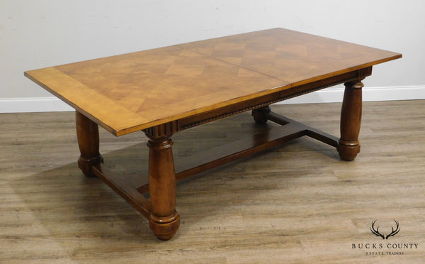 Century French Louis XIII Style Large Parquet Top Expandable Dining Table