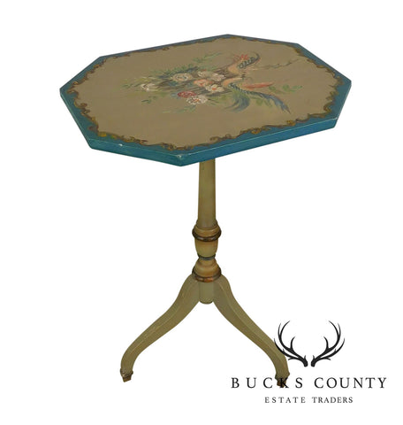Hand Painted Vintage Federal Style Tilt Top Table with Colorful Birds & Flowers