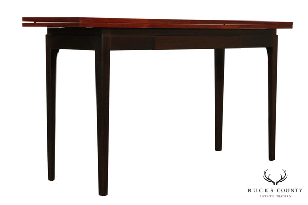 Mid Century Modern Teak & Rosewood Flip Top Console Table (A)