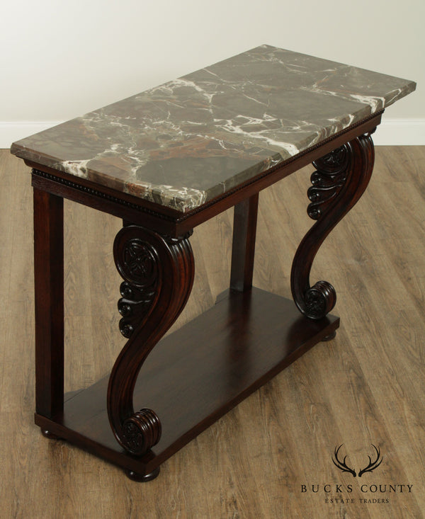 Antique French Empire Mahogany Marble Top Console Table