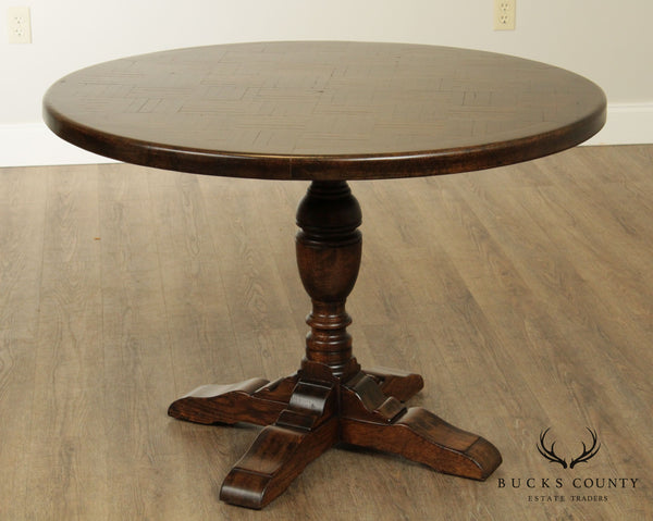 Jacobean Style Vintage Round Oak Parquet Top Dining Table