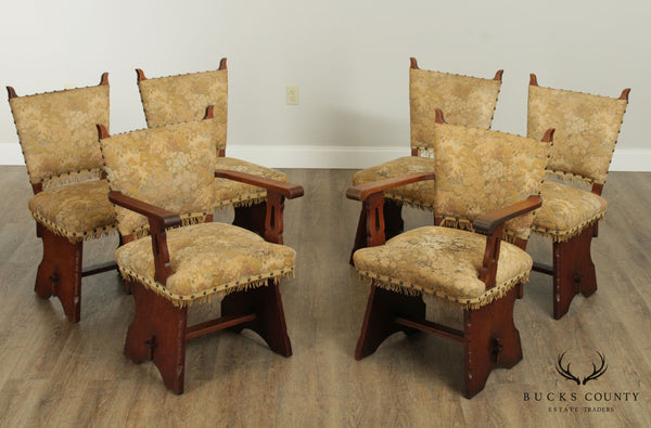 Antique Arts & Crafts Style Set 6 Oak Dining Chairs